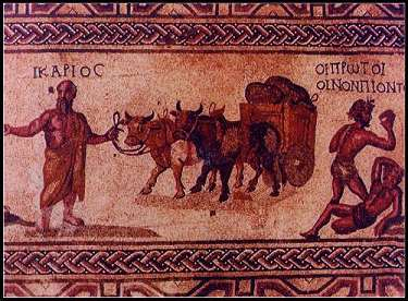MOSAIC FLOOR DEPICTING IKARIANS AS FIRST WINE DRINKERS