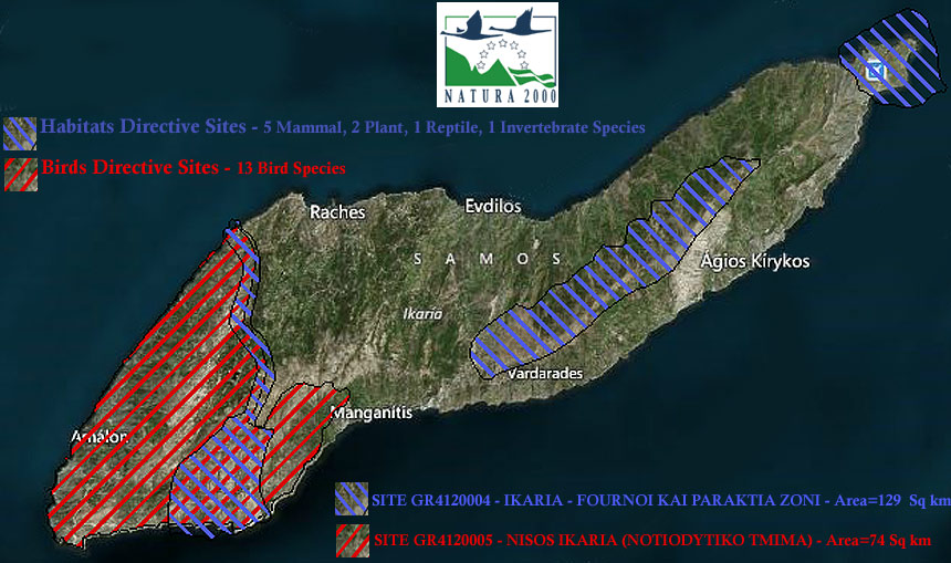 Ikaria Natura 2000 Protected Wildlife Habitats and Bird Zones
